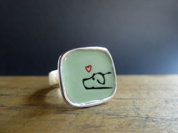 Hey, I found this really awesome Etsy listing at https://www.etsy.com/listing/191178250/enamel-and-silver-dog-ring-vitreous