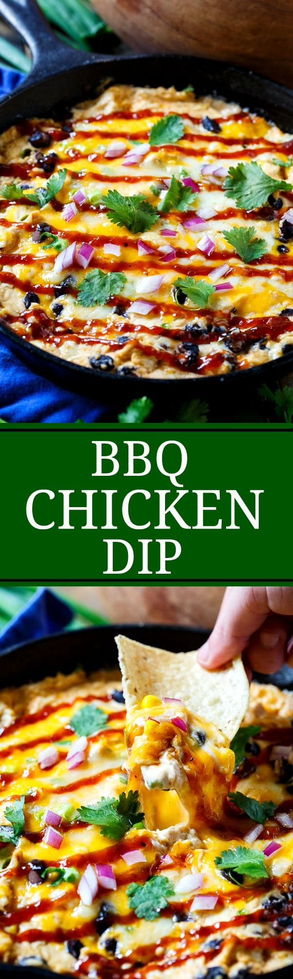 BBQ Chicken Dip- a creamy, warm dip with the flavor of BBQ Chicken Pizza.