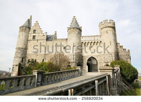 Het Steen is a medieval fortress in the old city of Antwerp. It is Antwerp's oldest building and used to be its urban centre. - stock photo