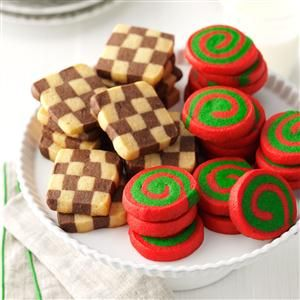 Pinwheels and Checkerboards Recipe -My mom used to make these cookies every Christmas, and I still love them. They are so colorful...and you can get two kinds of cookies from one dough! They're perfect for including in gift boxes.—Jill Heatwole, Pittsville, Maryland