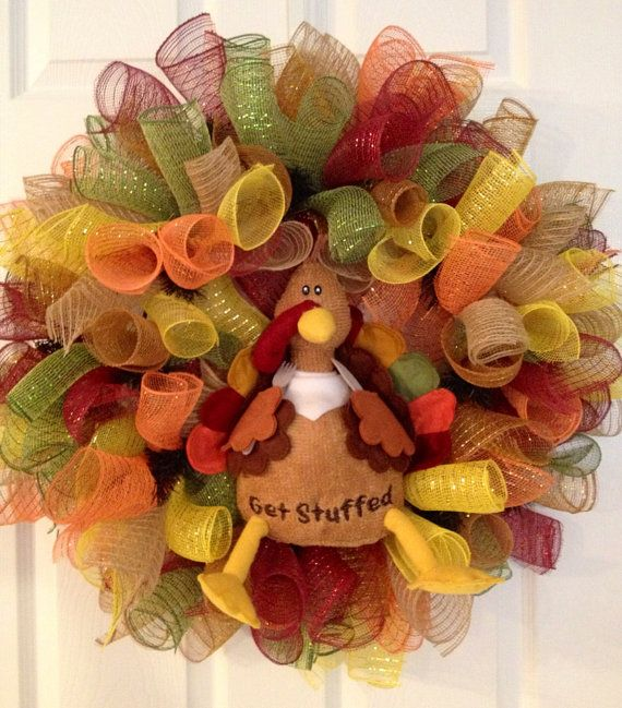 turkey deco mech wreath on etsy 65 00