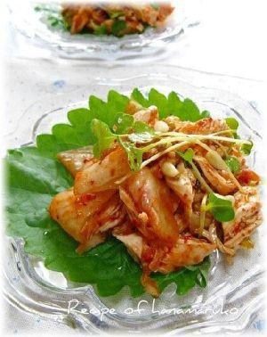 「鶏ささみのキムチ和え」淡白な鶏のささみに、白菜キムチを混ぜ合わせた簡単おつまみです。【楽天レシピ】