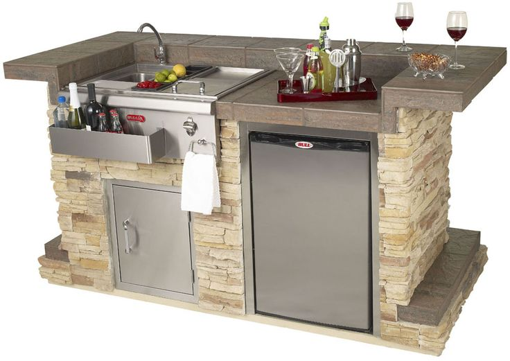 Bull BBQ Entertainers Bar Complete Bar Island comes standard with a 30 Inch Bar Caddy with Cold and Hot Water Sink and Condiment Holder Single Access Door with Lock and Key Non Ou