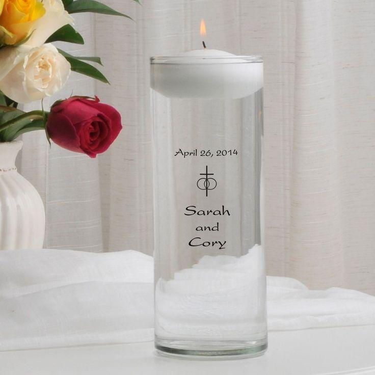 Classic Cross Christian / Catholic Floating Unity Candle Personalized #floatingunitycandle #personalizedweddingcandles