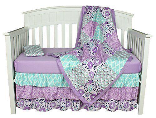Purple Baby Bedding, Zoe 4-In-1 Crib Bedding Set by The Peanut Shell, http://www.amazon.com/dp/B00WZMKTVQ/ref=cm_sw_r_pi_awdm_912Ewb0KRB958