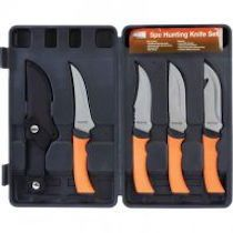 MAXAM® 5 PC Hunting knife set. This set features Sure-Grip handles, stainless steel blades, Heavy-Duty, blow-molded case and a limited lifetime warranty from MAXAM®. Great for hunting, fishing, camping or just carry on your belt with included sheath.