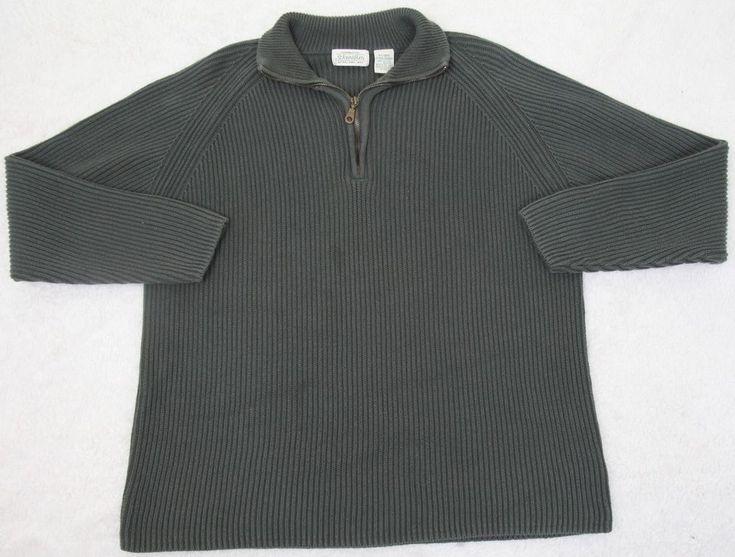St. John's Bay Sweater Green Mens XL Solid Cotton Man Extra Large Polo Half Zip #StJohnsBay #Polo