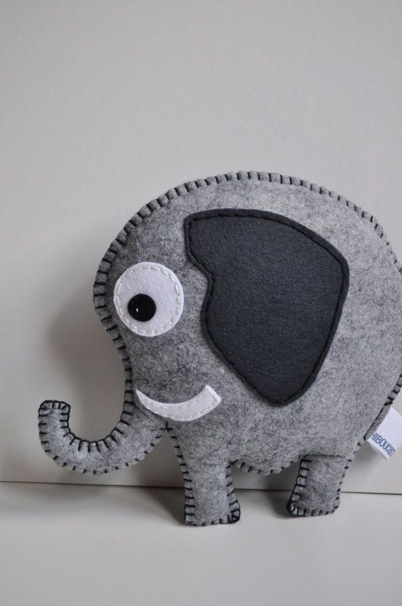 RESERVED for Carrie Elephant pillow all hand sewn door HibouDesigns
