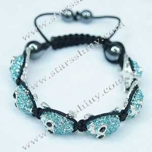 Shamballa Bracelet, alloy skull aquamarine rhinestone beads, adjustable.