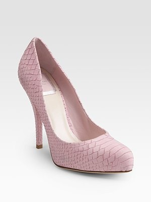 CHRISTIAN DIOR pink snake-print leather pumps.