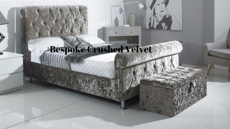 Sleigh bed Crushed Velvet   COMFORT DIRECTION