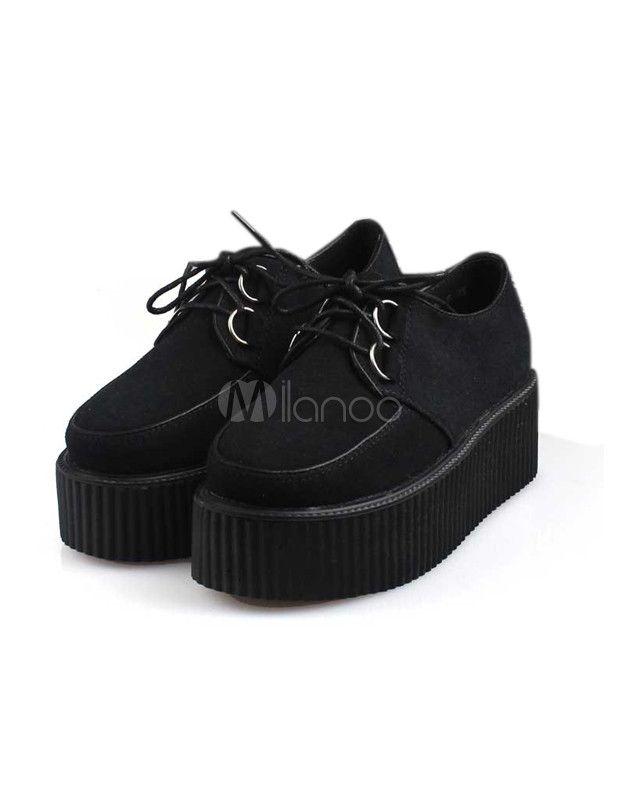 Chaussures plates avec plateforme punk à bout rond en tissu de terry noir  et lacets