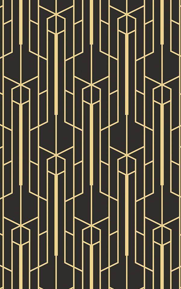 Yellow And Black Geometric Wallpaper Mural Art Deco Wallpaper Art Deco Interior Geometric Wallpaper