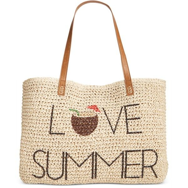 Style & Co Love Summer Straw Beach Bag, ($36) ❤ liked on Polyvore featuring bags, handbags, love summer, white purse, white tote handbags, tote handbags, beach tote bags and handbags totes