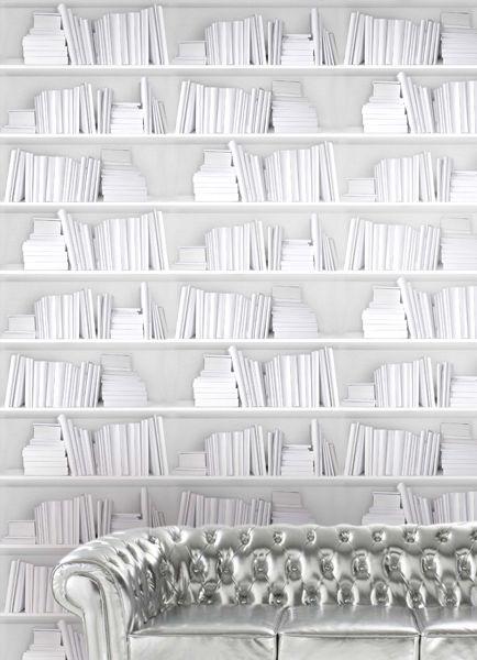 Bookshelf Wallpaper by Young & Battaglia - White