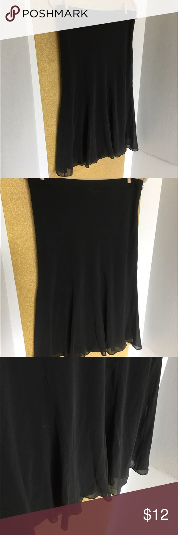 Banana Republic skirt used good condition Black gauzy a-line/trumpet style skirt.  This is a great date skirt, would pair well with a silky cream  blouse and red heels! GAP Skirts A-Line or Full