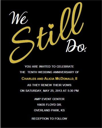 """We still Do"" Vow Renewal Invitations"