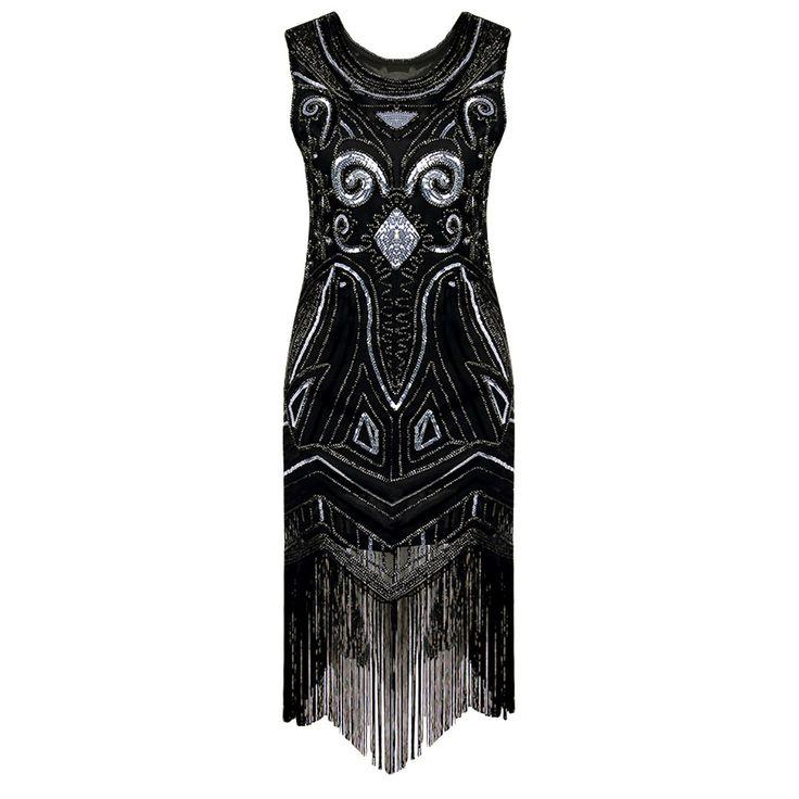 90s Style Flapper Dress Vintage Great Gatsby Charleston Sequin Tassel Party Knee-Length Dress black Sequined Bling Dress Vestido