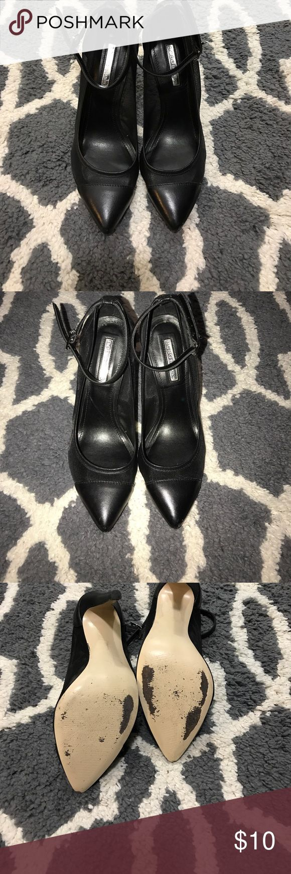 """BCBGeneration black mesh heels USED. BCBGeneration black mesh heels USED. 4"""" heel. These heels are preloved but still in good condition.  Left one has some scuffs and tiny mesh rip but like I said are still in good condition. Please look at pictures before purchasing. I consider all offers ❤️ BCBGeneration Shoes Heels"""