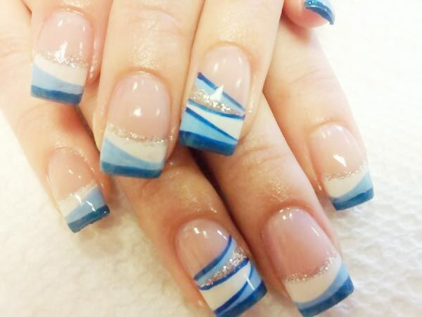 Bridal French Manicure Silver Art | white blue stripes silver french nails » Favnails