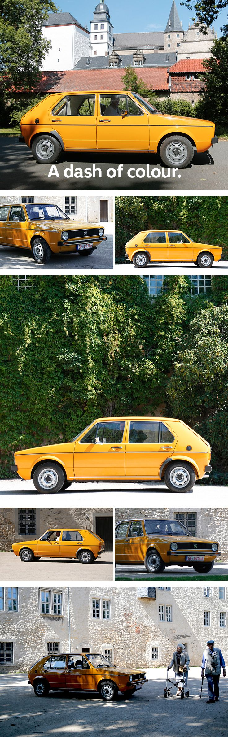 Looking good from every angle: the Golf I looks fresh and bright with its original yellow paint. A day on the road provides picturesque backdrops that make for a great contrast to the vibrant colour and edged frame of this Volkswagen classic car.