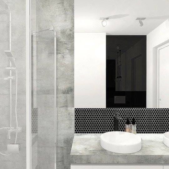 DUNIN Mini Hexagon Black by One Home Katarzyna Chojna   You like it❔ #dunin #hexagon #design #homedecor #bathroom #elegant #perfect #inspiration #tile #grey #white #black #onehome #katarzynachojna #architect #minimalist #luxury