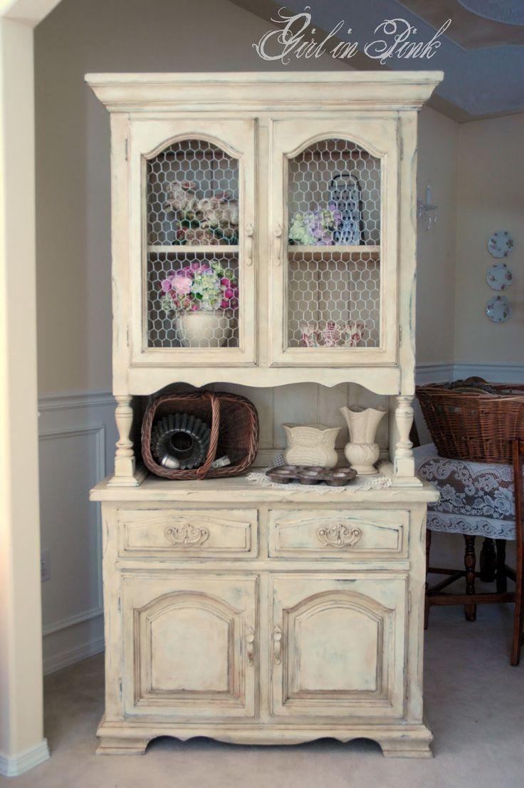 Beautiful One Girl In Pink: French Country Cottage Cupboard, Versaille Greeen With Old  White On Top, Sanded Through