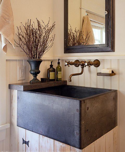 I love this giant rustic looking sink - perfect for our small bathroom and could double as a laundry tub in a pinch! (since the laundry room is in our   bathroom I require double duty items)