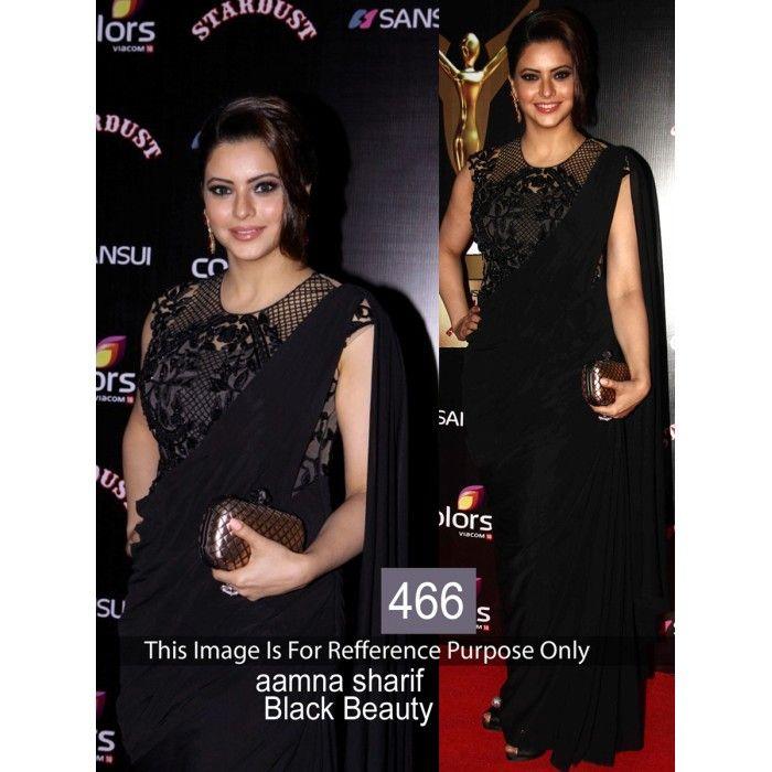 Black Beauty Weightless Georgette Aamna Sharif Designer Replica Saree