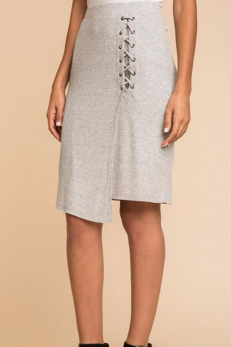 A cute basic with a stylish twist elastic waistband angled wrap style and lace-up detail. Buttery soft ribbed texture and easy drape. Lace Up Skirt by Splendid. Clothing - Skirts - Midi Ohio