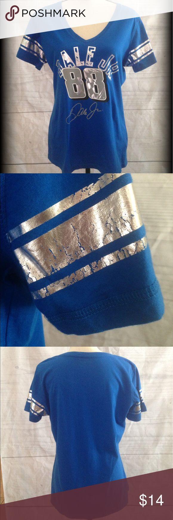 Dale Earnhardt Jr. NASCAR shirt Ladies V neck. Nice silver and grey logo design on front. 100% cotton. NASCAR Tops Tees - Short Sleeve