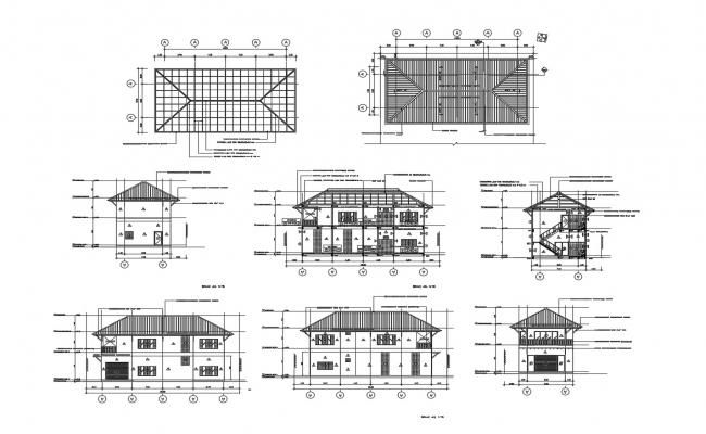 Autocad Drawing Of Roof Plan With Sections And Elevation Architecture Drawing Plan Autocad Drawing Architecture Drawing