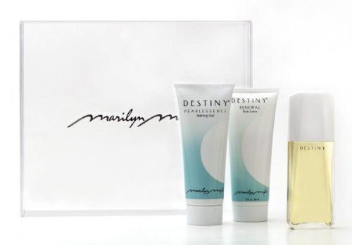 Destiny Dreams Gift Set (Inclues 1.6 Oz Eau De Parfum + 3 Oz Pearlessence Bath Gel + 3 Oz Renewal Body Lotion) by Marilyn Miglin. $45.00. 3 oz Renewal Body Lotion. 1.6 oz Destiny Eau de Parfum. Destiny - created for the woman who balances her sensuality with her spirituality.. 3 oz Pearlessence Bath Gel. Clear Marilyn Miglin Gift Box. Inspired by the breathtaking view of white blooms cascading the mountains of the Swiss Alps, as experienced by Miglin during a hot-air ...