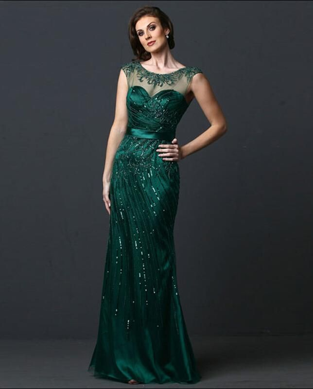 emerald green luxury evening dress