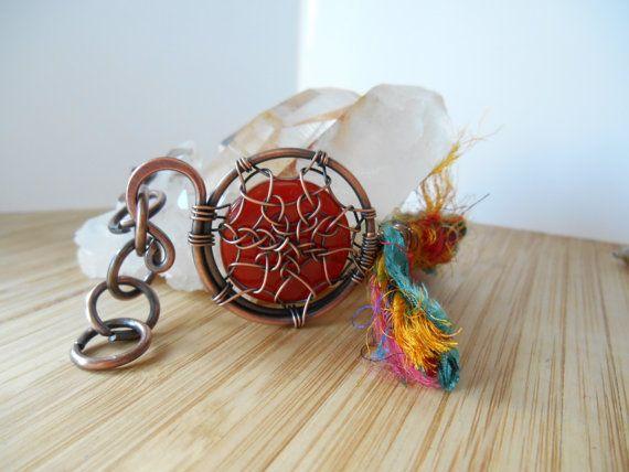 Dreamcatcher bracciale corniola Sari seta nastro rame ossidato filo avvolto agata Boho filo avvolto braccialetto filo avvolto gioielli fatti a mano