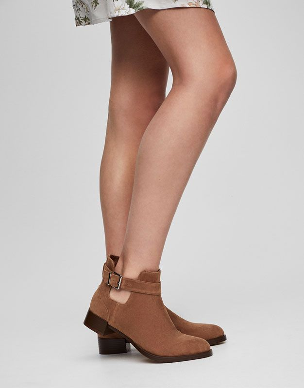 Botín plano calado - Botas y botines - Calzado - Mujer - PULL&BEAR México