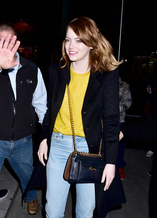 """Emma Stone is seen arriving at """"La La Land"""" Q&A in New York City on November 28, 2016."""