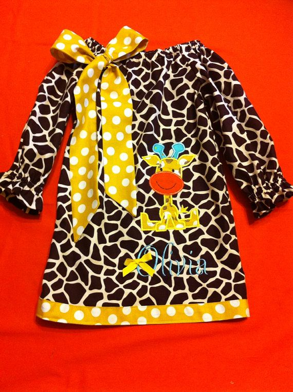 Hey, I found this really awesome Etsy listing at https://www.etsy.com/listing/158368091/baby-girltoddlergirl-appliqued-giraffe