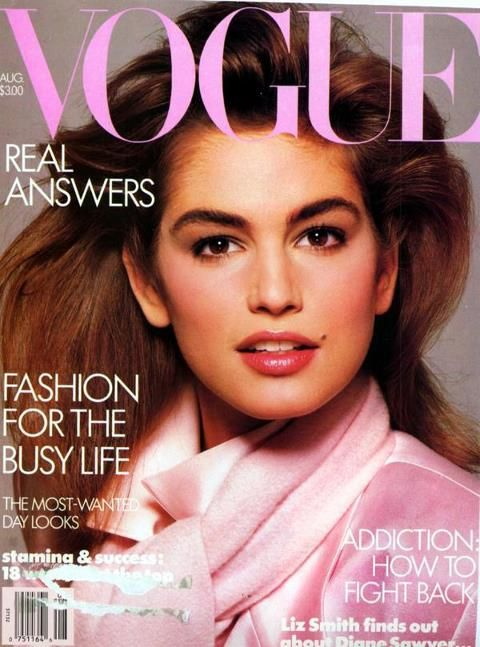 """""""This was my first big cover - American Vogue, August 1986 shot by the late, great Richard Avedon. I was feeling really good about myself - - -until Linda Evangelista told me August wasn't a very good month!!!"""" -- Cindy Crawford"""