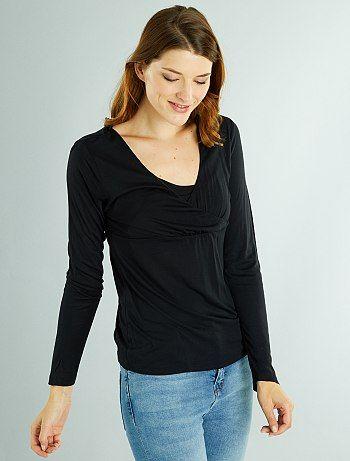 5ed95f3dba0 Talla L. Camiseta de lactancia con cuello de encaje negro Premama - Kiabi