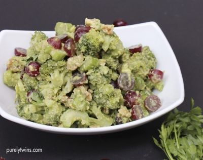 A simple healthy waldorf salad recipe made with broccoli, celery, walnuts and avocado! A great side dish to any meal. A fun way to eat broccoli.