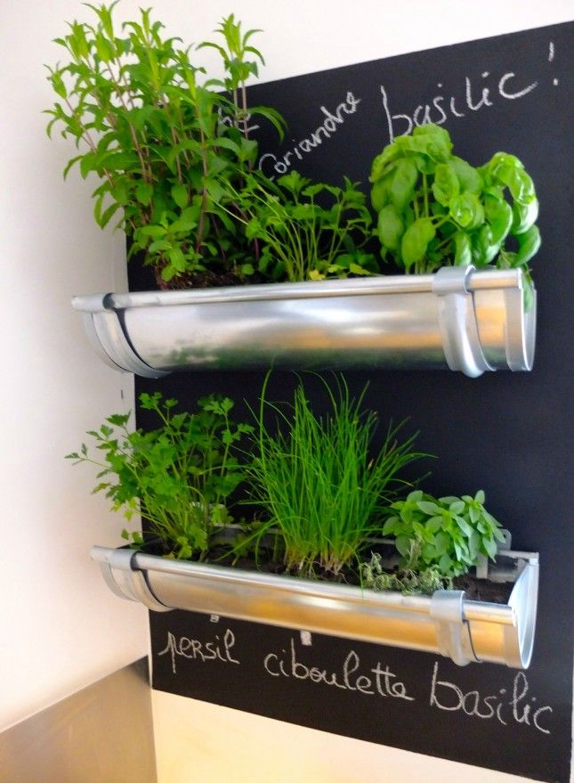 Mount short sections of an eaves trough to a chalkboard for a chic and modern herb garden.: