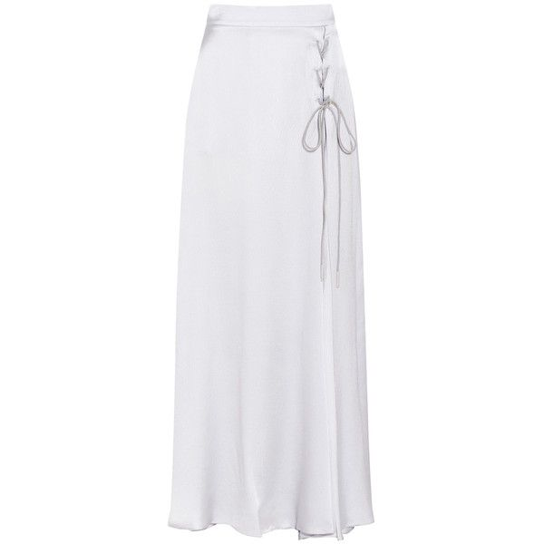 Emporio Armani Silk Maxi Skirt ($683) ❤ liked on Polyvore featuring skirts, grey, grey maxi skirts, evening skirts, lace up skirt, long grey skirt and grey skirt