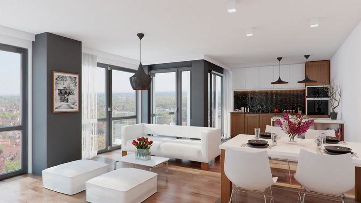 Living room interior visualization / Wizualizacja salonu z aneksem kuchennym.