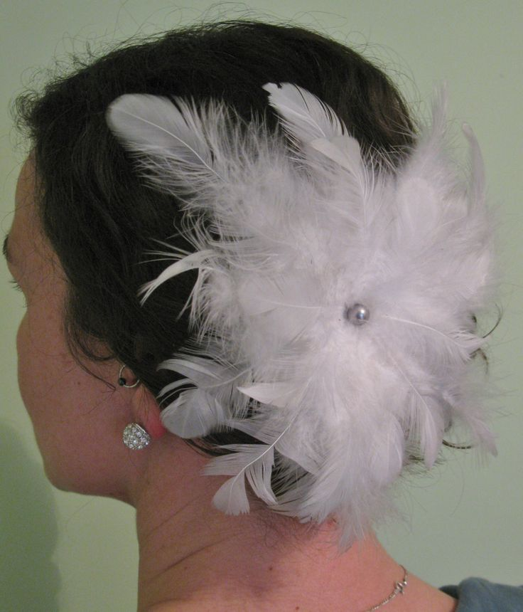 Large, White, Fluffy, Feather Flower Fascinator, Hairpiece, Clip, Bridal, Comb, Accessories by PeachesPlumageWorks on Etsy