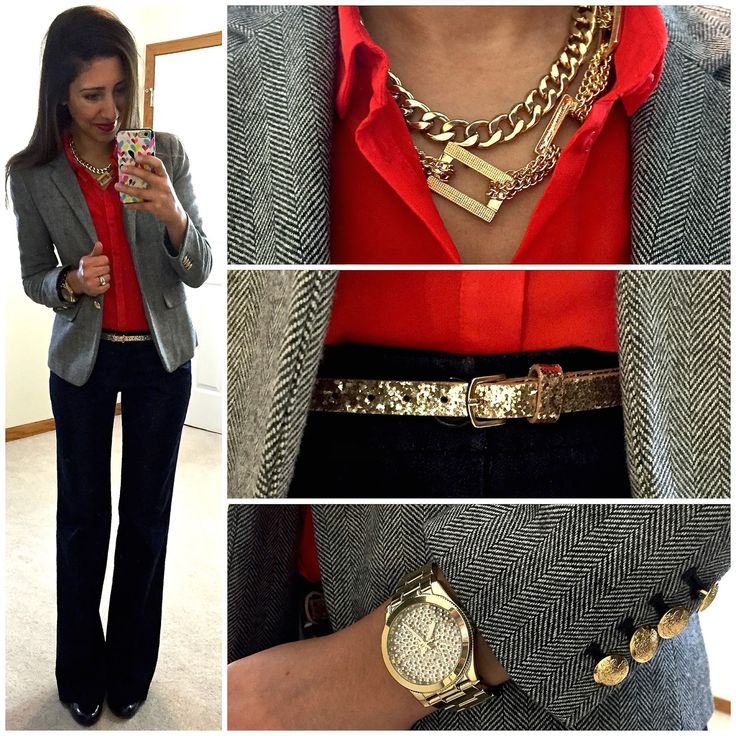 Hello, Gorgeous!: Pop of Red. --LOVE this outfit style! I would wear a different color other than red, but I like all of the pieces in this outfit.