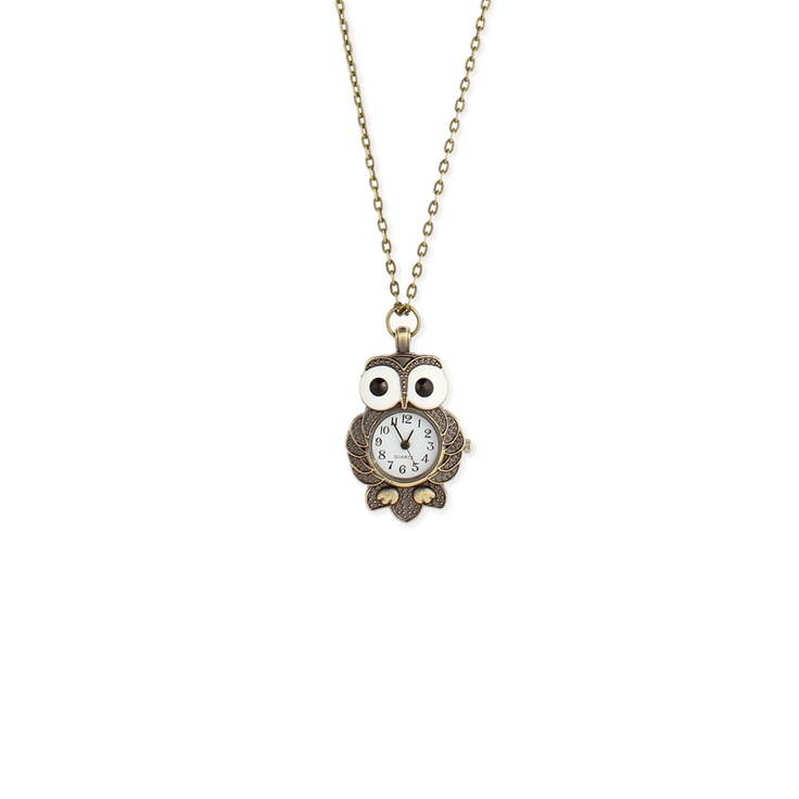 'ZAD Wide Eyed Owl Clock Necklace Gold