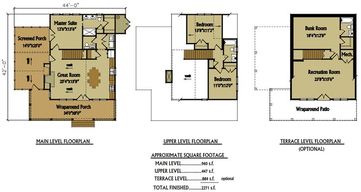Small 2 story 3 bedroom cabin with wraparound porch for 3 bedroom cabin floor plans