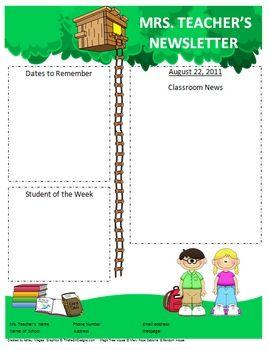 A MAGICAL TREE HOUSE TEACHER NEWSLETTER TEMPLATE - TeachersPayTeachers.com