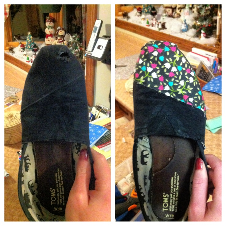 Easy way to fix toms with holes in them!  A piece of fabric, needle and thread, with some fabric glue on the edges!